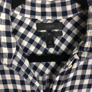J. Crew Tops - J. Crew Gingham Crinkle Boy Shirt Navy Blue White